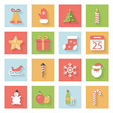 Christmas and New Year flat icons set with shadows