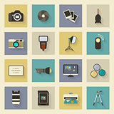 Photo equipment flat icons set with shadows
