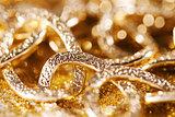 gold jewelery luxury background. golden glitter
