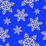 Snowflakes Seamless Blue Vector Background