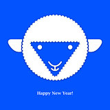 Sheep. New year card. Vector illustration