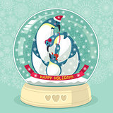 Snowing Globe With Penguin Family Inside