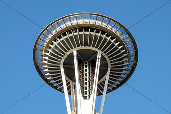 Close up of the top of the Space Needle