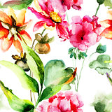 Seamless wallpaper with Geranium and Gerber flowers