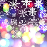 Snowflakes and bokeh card