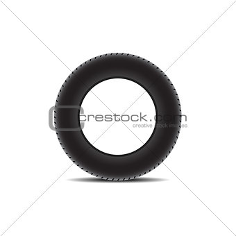 Car tire with shadow