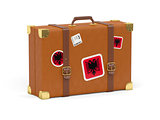 Suitcase with flag of albania