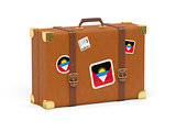 Suitcase with flag of antigua and barbuda