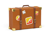 Suitcase with flag of bhutan