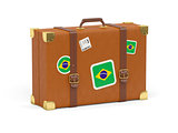 Suitcase with flag of brazil