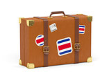 Suitcase with flag of costa rica