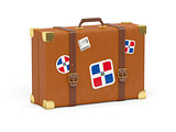 Suitcase with flag of dominican republic