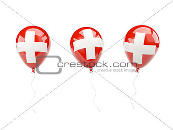 Air balloons with flag of switzerland