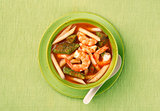 Sour soup made of tamarind paste with shrimp and several kinds of vegetables.