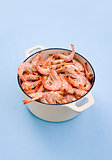 Shrimp seafood in the pot