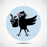 Bird with 3D Glasses