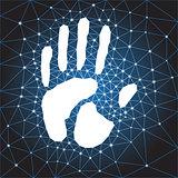 polygonal web hand print