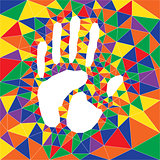 polygonal color hand print