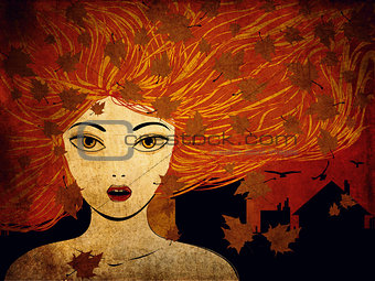 Autumn girl grunge background