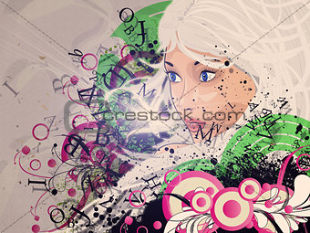 Background with girl and flourish