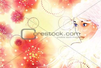 Blonde girl on floral background