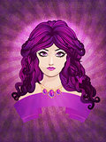 Girl with long purple hair