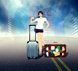 Girl with Suitcase on the Road
