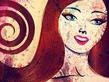 Grunge brunette with blue eyes