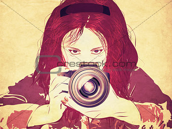 Grunge female photographer