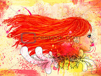 Grunge floral portrait of red haired girl