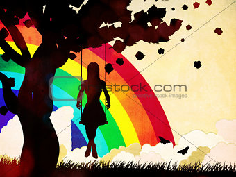Grunge girl on swing and rainbow