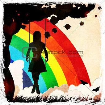 Grunge girl on swing and rainbow