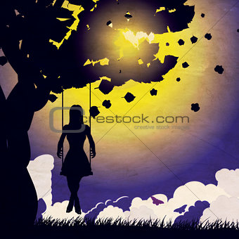 Grunge girl on swing silhouette at night