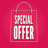 Special offer poster with bag, vector illustration