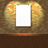 Brick wall with a blank page and lighting