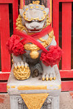Close up Ancient Lion Stature