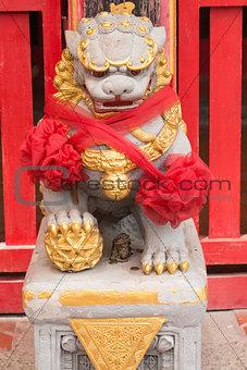 Close up Ancient Lion Stature