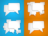 Blank Speech Bubble on Blue and Orange Background.