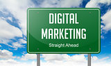 Digital Marketing on Highway Signpost.