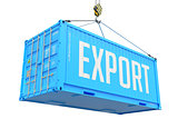 Export, Blue Cargo Container Hoisted with Hook.