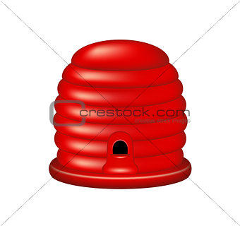 Bee house in red design