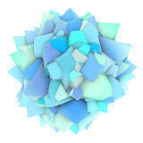 3d abstract blue shape on white