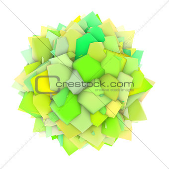 3d abstract green yellow shape on white