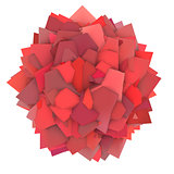 3d abstract red pink shape on white