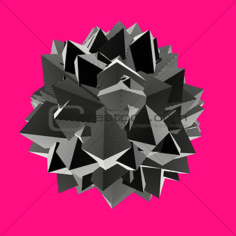 abstract 3d shape in striped pattern on pink
