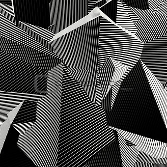 abstract striped shape background in black and white