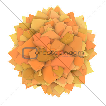 3d abstract orange yellow shape on white
