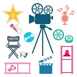 Colorful movie and music icons Movie and music icons