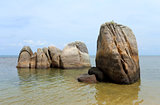 unusual rocks and boulders in the sea