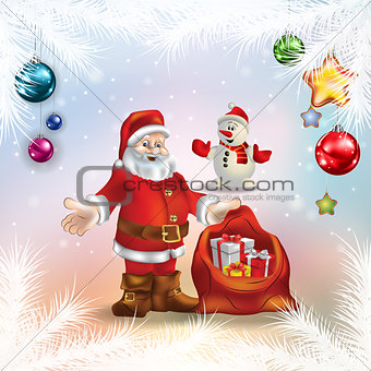 Abstract golden background with Christmas bells and gifts